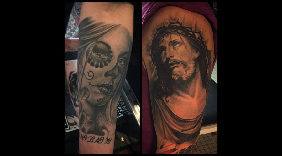 Jesus  Portrait  Realism  Realistic  Black And Grey  La Catrina Arm