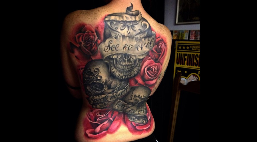 Color  Black And Grey  Roses  Skulls  Realism  Realistic Back