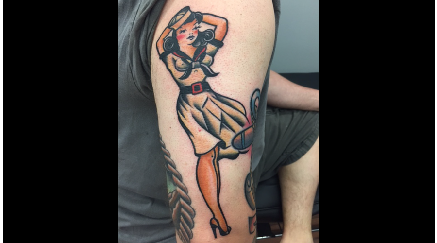 Sailor Jerry  Traditional  Pin Up  Color  Colour  Sleeve  Old School Arm