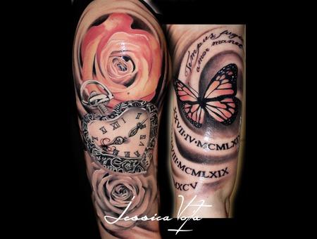 Rose  Butterfly  Heart Shaped Pocket Clock Arm