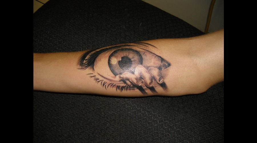 Dali  Black And Grey  Eye Tattoo Forearm