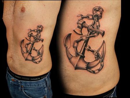 Anchor  Rib Tattoo  Black And Grey Black Grey Ribs