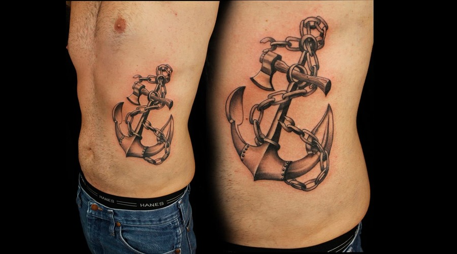 Anchor  Rib Tattoo  Black And Grey Black Grey Ribs