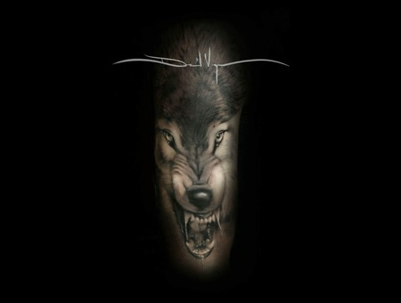 Black And Grey  Realistic  Wolf Arm