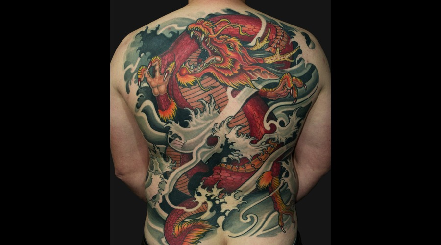 Asia  Japanese  Oriental  Irezumi  Horimono  Healed  Custom  Dragon  Ryu Back