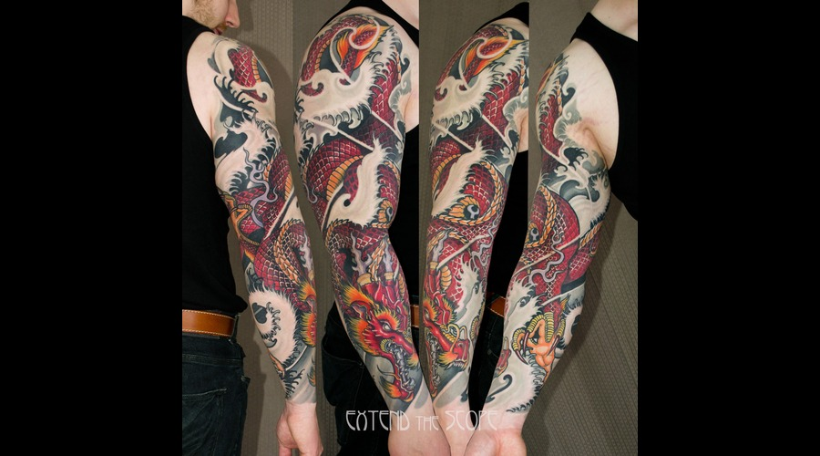 Sleeve  Asia  Dragon  Ryu  Oriental  Japanese  Horimono  Healed  Custom Arm