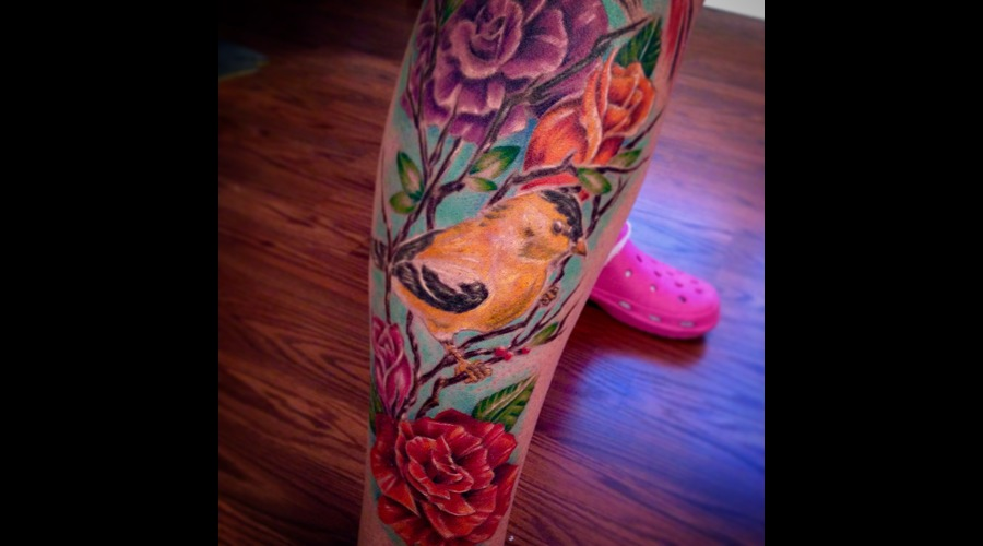 Bird  Flowers  Branches  Freehand Lower Leg