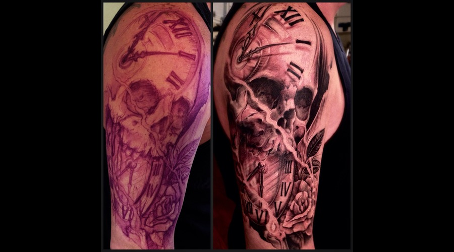 Skull  Clock  Rose  Candles  Freehand Arm