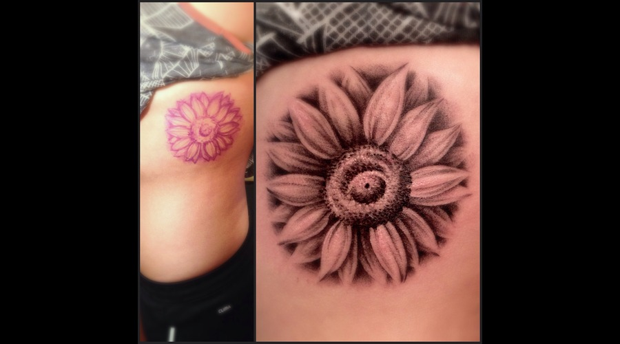 Sunflower  Flower  Freehand Ribs