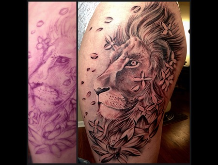 Lion  Flowers  Freehand Thigh