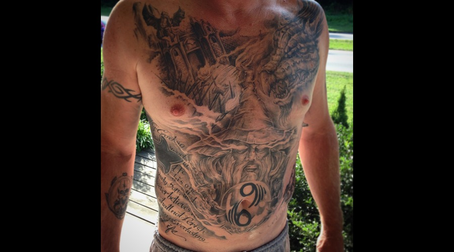 Wizard  Dragon  Castle  Lettering  Freehand  Frontpiece Chest