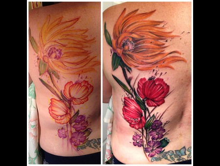 Sunflower  Poppy  Flowers  Watercolor  Freehand Back
