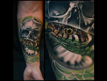 Realistic Tattoos Photorealistic Tattoo Snake Tattoo Color Tattoos Forearm