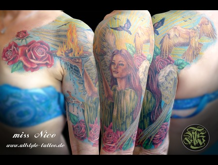 Missnico  Guardianangel  Allstyletattoo  Colortattoo  Angel  Besttattoo Arm