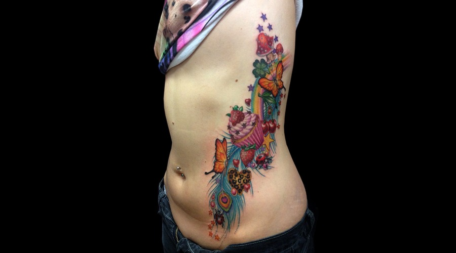 Missnico  Cupcake  Neotraditional  Feather  Colortattoo Ribs