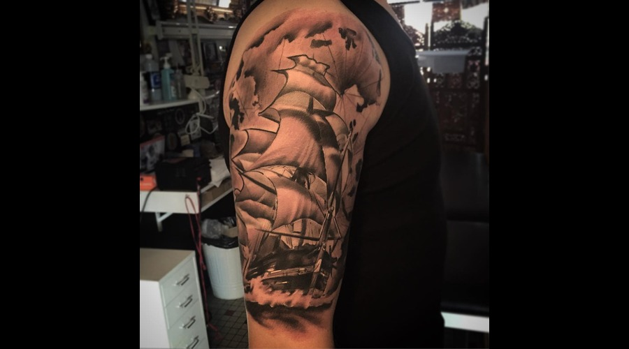 Ship  Realistic  Tattoo  Realism  Blackandgrey   Shoulder