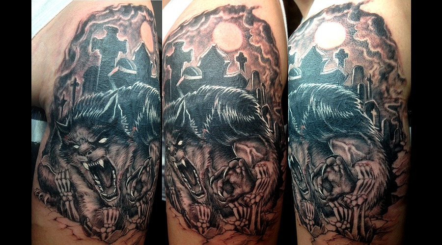 Werewolf's Graveyard Black Grey Shoulder