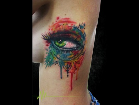 Eye  Compass  Watercolor  Abstract Ribs