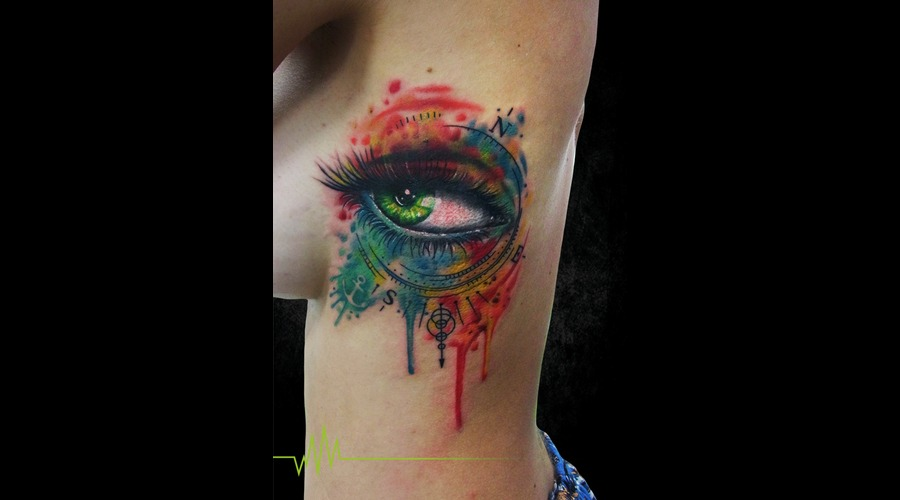 Eye  Compass  Watercolor  Abstract Ribs