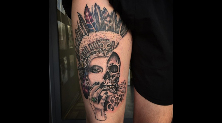 Indian   Skull Tattoo  Thigh