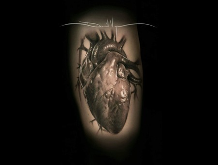 Realism  Heart  Black And Grey Forearm