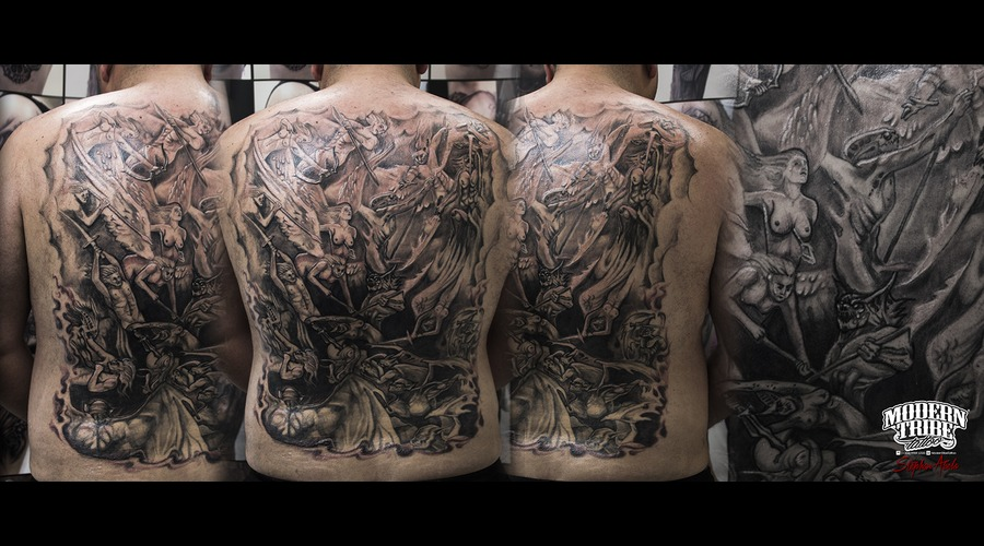 Back Piece Angels Vs Demons Back