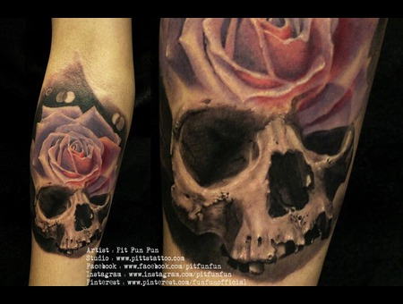 Skull Rose Design/Tattoo By Pit Fun Forearm