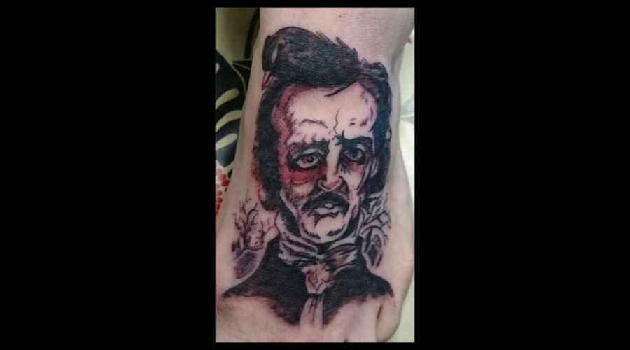 Poe  Edgar Allen  Black  Drawn  Foot Foot