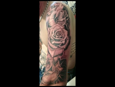 Roses  Black  Grey  Shading  Arm  Sleeve Arm
