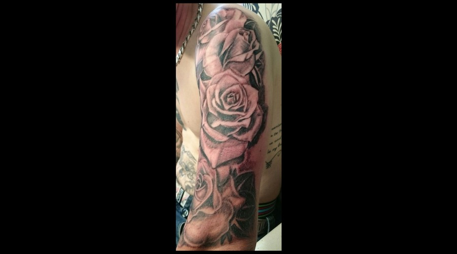 Roses  Black  Grey  Shading  Arm  Sleeve Arm