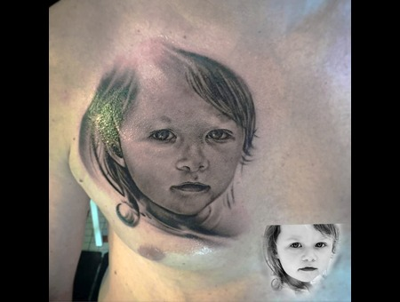 Portrait  Realistic  Blackandgrey  Tattoo Chest