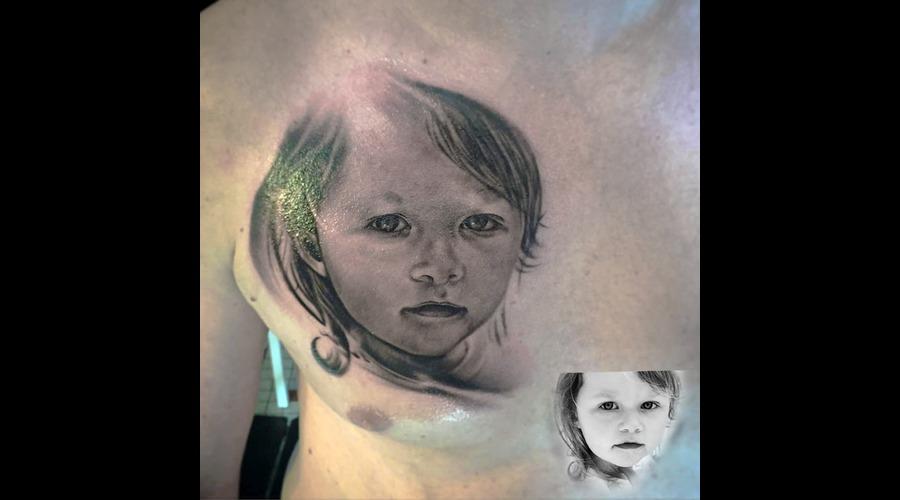 Portrait  Realistic  Blackandgrey  Tattoo Chest
