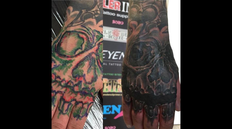Hand Tattoo Freehand Hand Tattoo Skull Tattoo