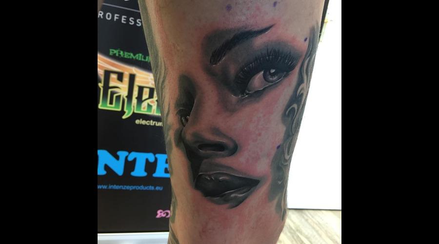 Realistic Women Face Tattoo Portrait Tattoo Blackandgrey Tattoo Thigh