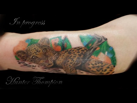 Bicep  3 Hours  Leopard  In Progress  Inkline Private Tattoo Studio  Hunter Arm