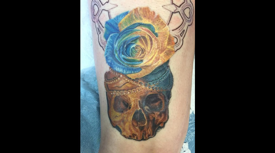 Realism  Skull  Rose  Color