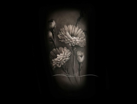 Realism   Black And Grey   Flowers Arm