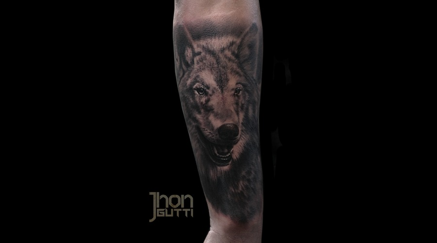 Wolf Tattoo  Balck And Grey Wolf. Forearm