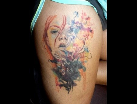 Watercolor  Portrait Thigh