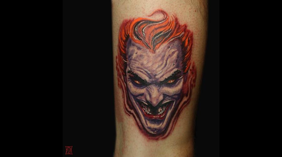 Joker Tattoo Gabor Zsil Zsilvolgyi Montreal Thigh