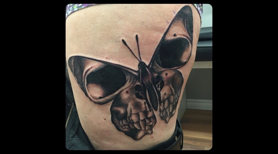 Death Moth  Black And Grey  Realism  Moth  Skull Thigh