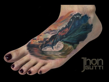 Wave Tattoo  Realistic Wave Tattoo  Clark Little Tattoo   Foot