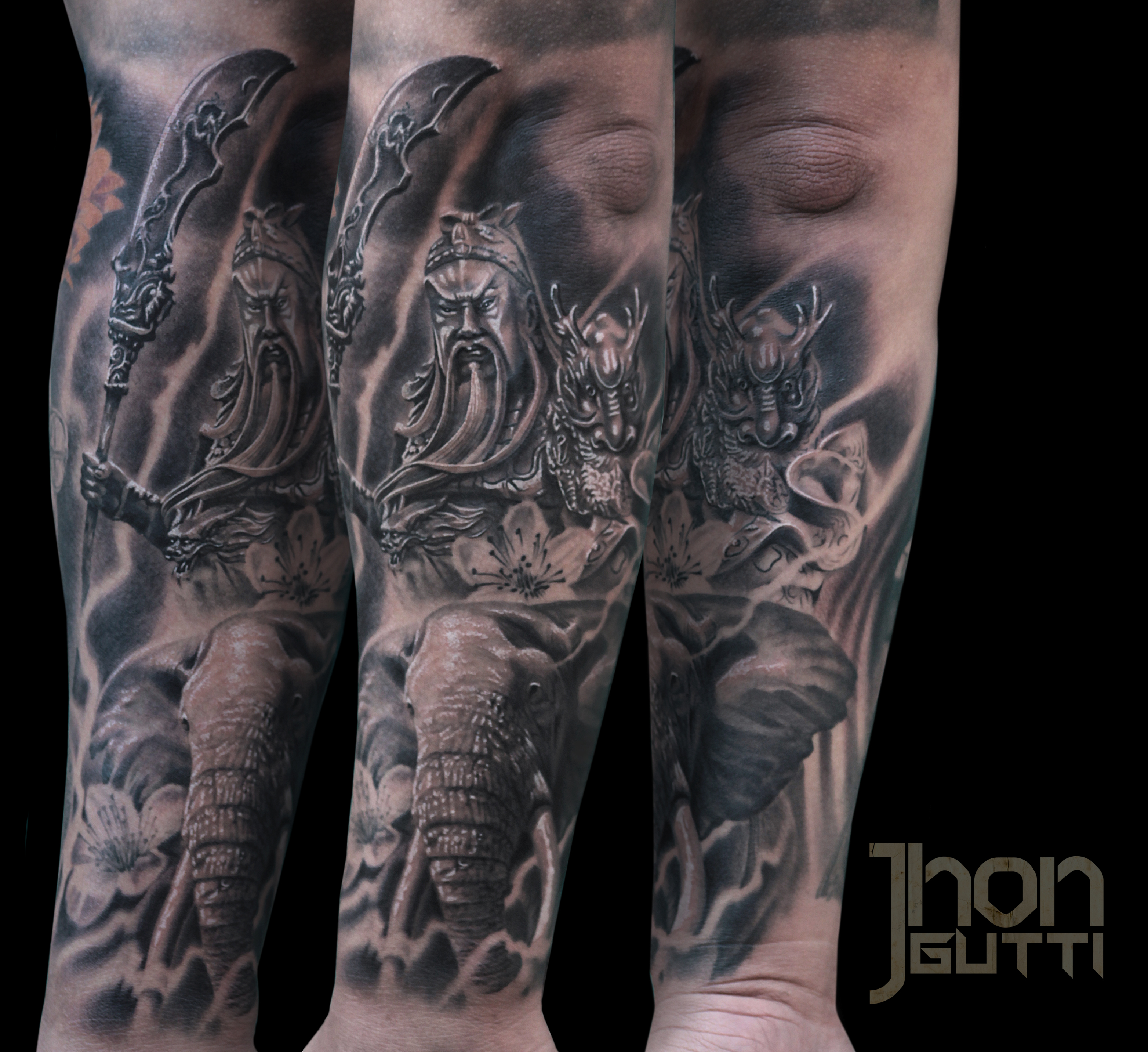 3067ce5f2 Guan Yu Tattoo Chinese God Of War Elephant Tattoo Black And Grey Forearm