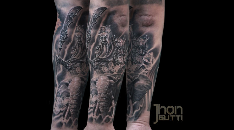 Guan Yu Tattoo  Chinese God Of War  Elephant Tattoo Black And Grey Forearm