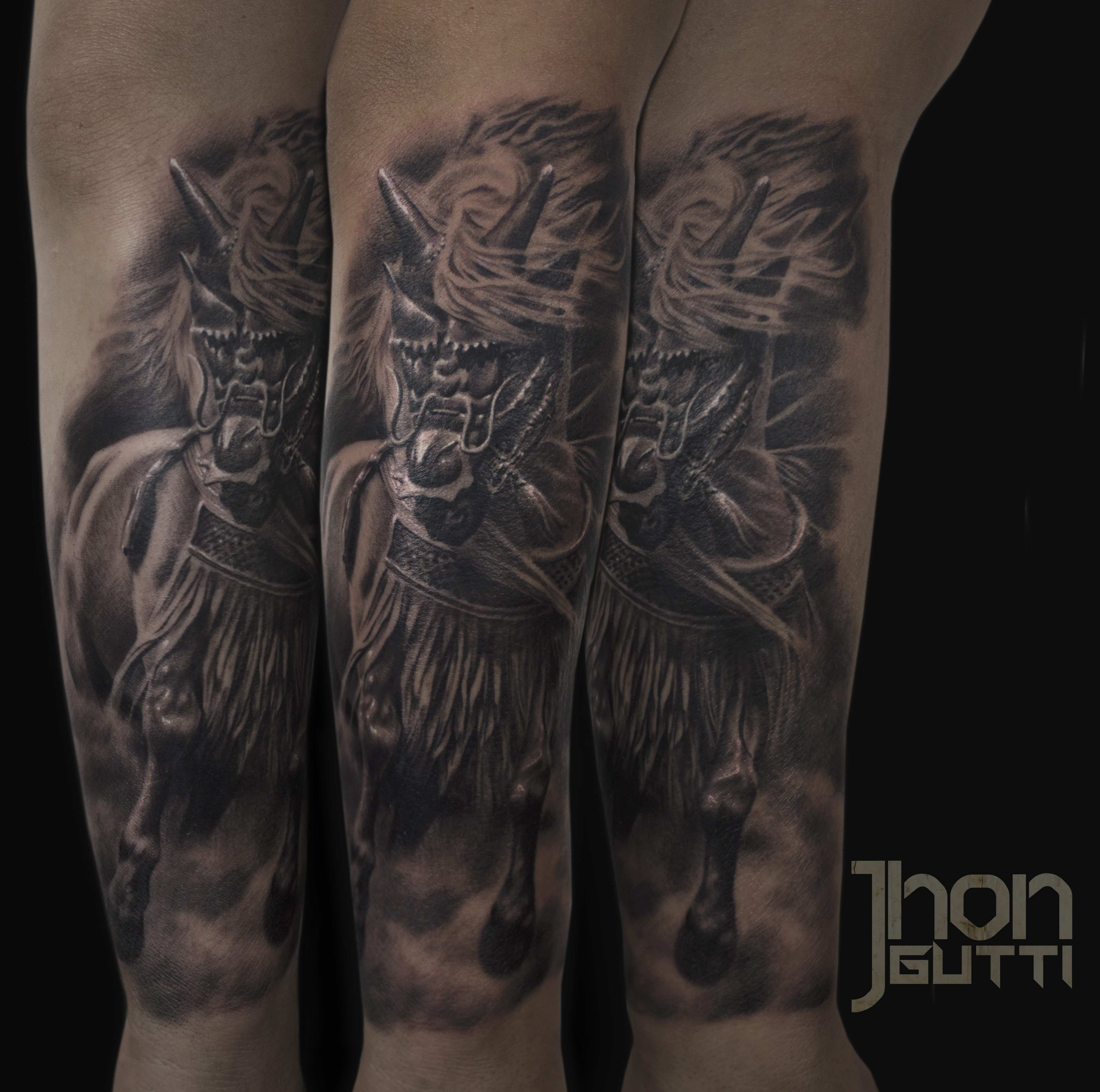 c04f5b340 Samurai Horse Horse With Armor Black And Grey Horse Tattoo Forearm