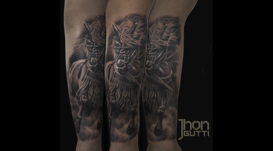 Samurai Horse  Horse With Armor  Black And Grey Horse Tattoo Forearm