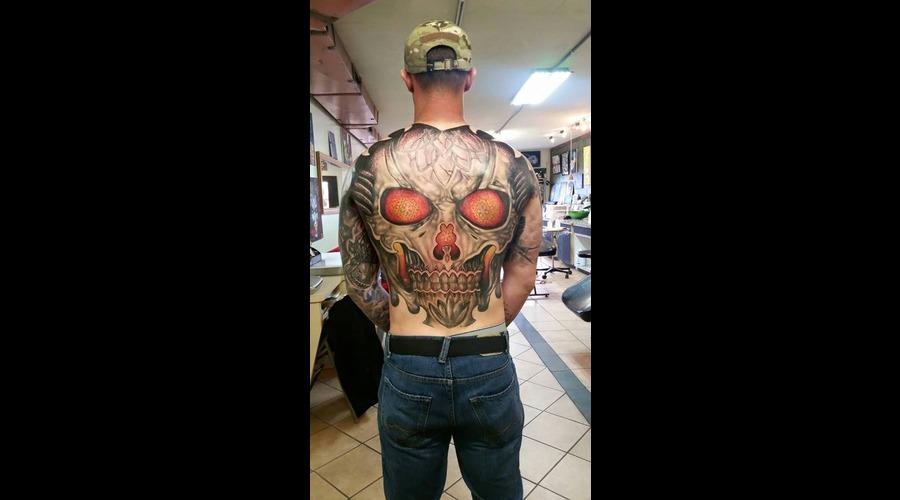 Skull  Mandala Tribal And Dot Work  Back