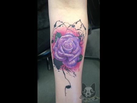 Rose  Abstract  Color  Realistic  Splatter  Modern  Own  Purple  Forearm