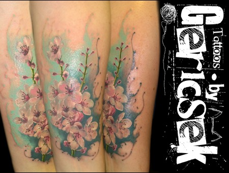 Cherryblossom  Flower  Color  Watercolor  Realistic  Flower  Forearm