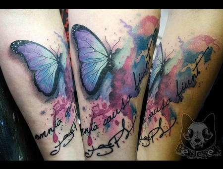 Butterfly  Realistic  Water  Color  Script  Girly  Forearm